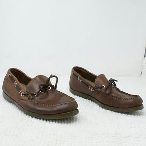 LL BEAN Brown Leather Loafers Boat Deck Shoes 7 EE